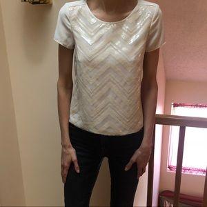 Creme herringbone blouse